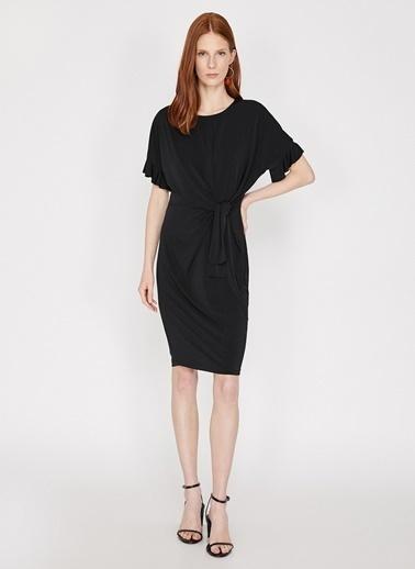 Koton Önden Bağlamalı Kısa Elbise Siyah